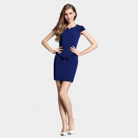 SSXR Irregular Style Body Con Blue Dress (5328)