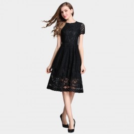 SSXR Knee Length Mesh Gauze Black Dress (5329)