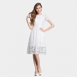 SSXR Knee Length Mesh Gauze White Dress (5329)