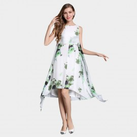 SSXR Irregular Swing Chiffon Green Dress (5330)