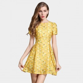 SSXR Swallow Pattern Print Yellow Dress (5331)