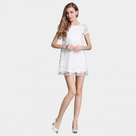 SSXR Patterned Gauze Doll White Dress (5332)