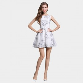SSXR Feathers Print Pattern White Dress (5334)