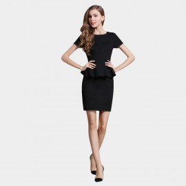 SSXR Ruffled Waist Black Dress (5335)