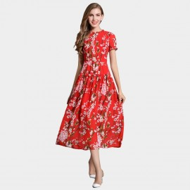 SSXR Plum Blossom Print Pattern Red Mid Calf Dress (5338)