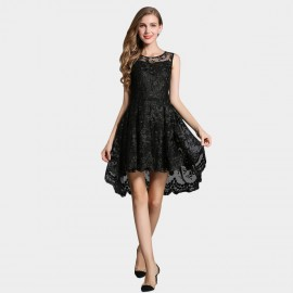 SSXR Lace Gauze Crop Front Black Dress (5340)