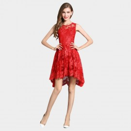 SSXR Lace Gauze Crop Front Red Dress (5340)