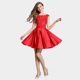 SSXR Silky Embroidery Fleur Red Dress (5341)