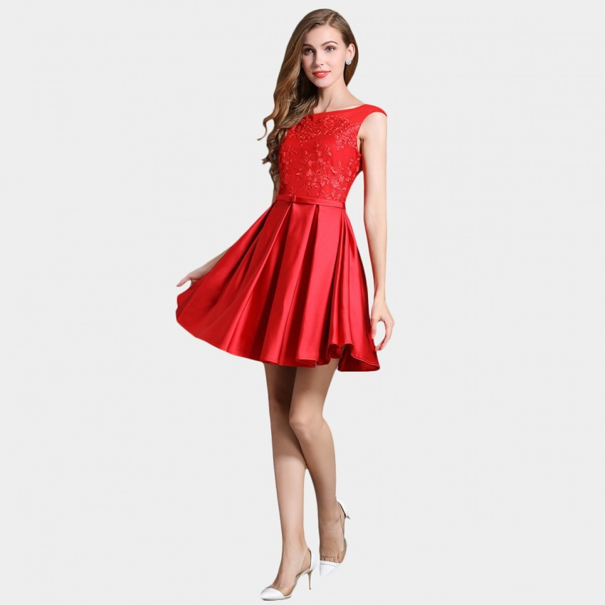 Ssxr silky embroidery fleur red dress  cm