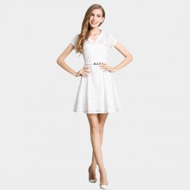 SSXR Hollow Out Pattern White Dress (5343)