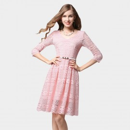 SSXR Patterned Lace Mid Sleeved Knee Length Pink Dress (5347)