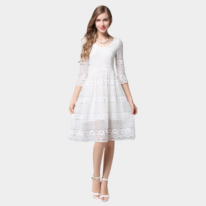 mid length white lace dress ssxr patterned lace mid sleeved knee length white dress 480
