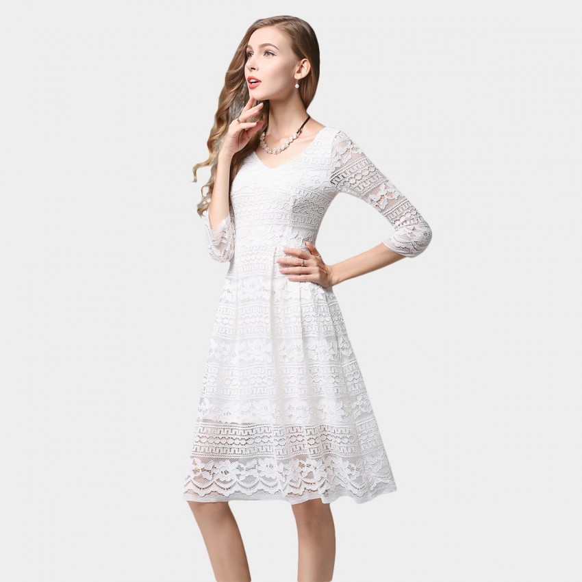 mid length white lace dress ssxr patterned lace mid sleeved knee length white dress 7688