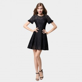 SSXR Ruffled Cuff Short Sleeved Lace Black Dress (5348)