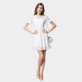 SSXR Ruffled Cuff Short Sleeved Lace White Dress (5348)