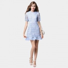 SSXR Petals Patterned Mesh Material Blue Dress (5350)