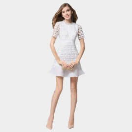 SSXR Petals Patterned Mesh Material White Dress (5350)