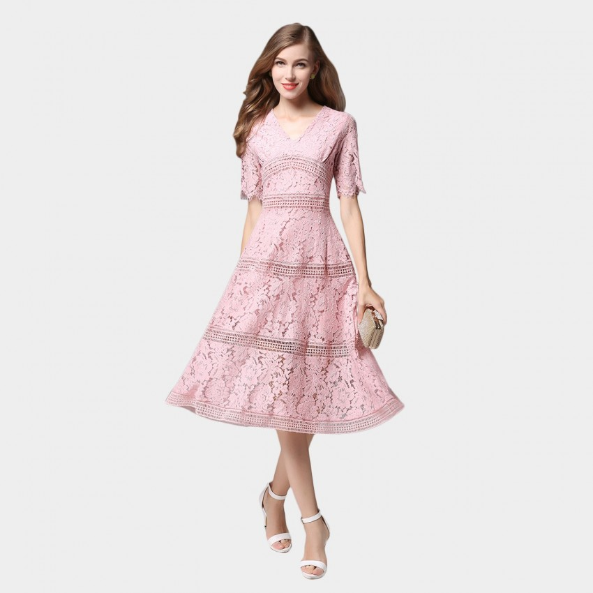 SSXR V Neck Mid Sleeved Knee Length Lace Pink Dress (5352)