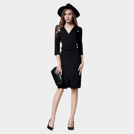 SSXR Wrap Chest Silver Button Black Dress (5371)