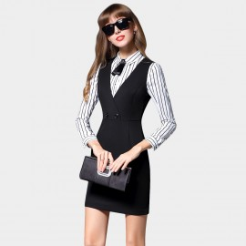 SSXR Ribbon Collar Vest Black Dress (5390)