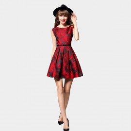 SSXR Bold Floral Patterned Red Dress (5396)