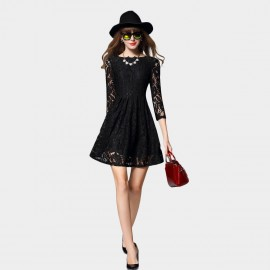 SSXR Lace Mesh Sleeved Black Dress (5403)