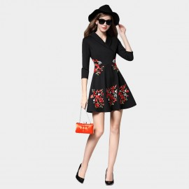 SSXR Embroidery Floral Pattern Black Dress (5426)
