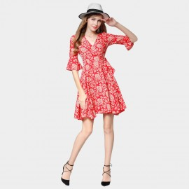 SSXR V Neck Ribbon Waist Pattern Red Dress (5429)