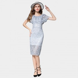 SSXR Cape Shoulder Slim Fit Hollow Pattern Grey Dress (5431)