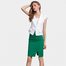SSXR Wing Sleeved Blazer With Body Con Dress White Set (7021)
