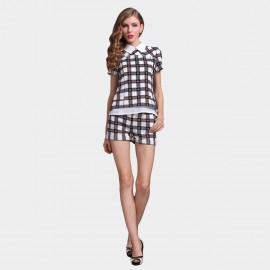 SSXR Scottish Checkers Patterned Top And Shorts White Set (7022)