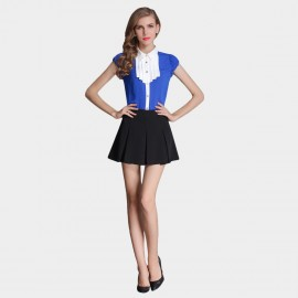 SSXR Sapphire Shirt With A Line Skirt Blue Set (7023)