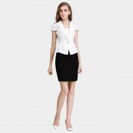 SSXR White Blazer With Black Pencil Skirt White Set (7033)