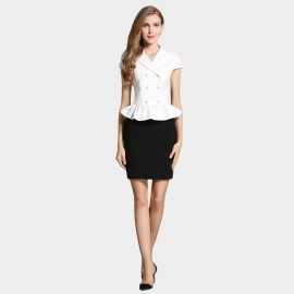 SSXR White Ruffled Blazer With Black Pencil Skirt White Set (7043)