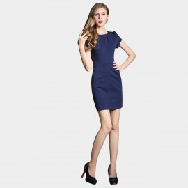 SSXR Puff Sleeves Pocket Navy Dress (5226)