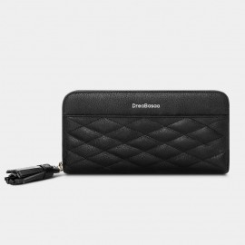 Dreabassa Extended Diamond-Pattern Black Wallet (DR173)