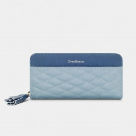 Dreabassa Extended Diamond-Pattern Blue Wallet (DR173)