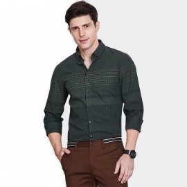 Qzhihe Parallel Line Green Shirt (HMC1336)