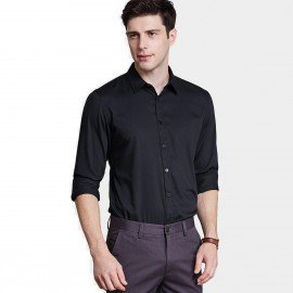 Qzhihe Smooth Silky Black Shirt (HMC1359)