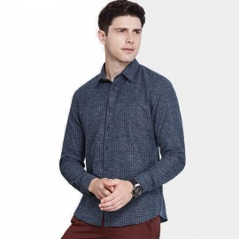 Qzhihe Button Down Winter Square Navy Shirt (HMC1375)
