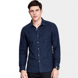 Qzhihe Button Down Solid Color Navy Shirt (HMC1383)