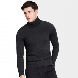 Qzhihe Slim Fit Square Patterned Turtle Neck Black Knit (HMM5037)