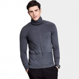 Qzhihe Slim Fit Square Patterned Turtle Neck Charcoal Knit (HMM5037)