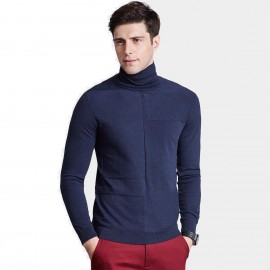 Qzhihe Slim Fit Square Patterned Turtle Neck Navy Knit (HMM5037)