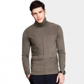 Qzhihe Slim Fit Square Patterned Turtle Neck Brown Knit (HMM5037)