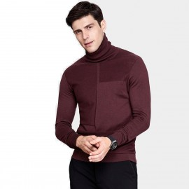 Qzhihe Slim Fit Square Patterned Turtle Neck Wine Knit (HMM5037)
