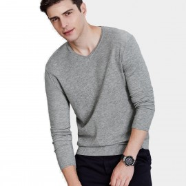 Qzhihe V-Neck Line Sand Grey Knit (HMM5051)