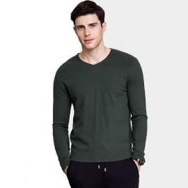 Qzhihe V-Neck Line Sand Green Knit (HMM5051)