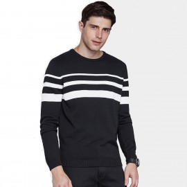 Qzhihe Three-Stripes Round-Neck Black Knit (HMM5053)