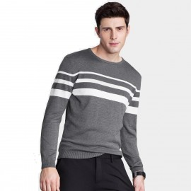 Qzhihe Three-Stripes Round-Neck Grey Knit (HMM5053)
